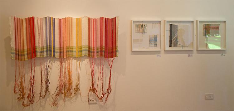 Penny Wheeler's 'Border' and smaller, framed works in Portal at Llantarnam Grange