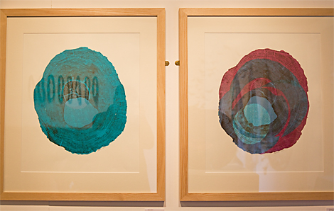 Anne Blades' monoprints from the sculptural wood blocks above.