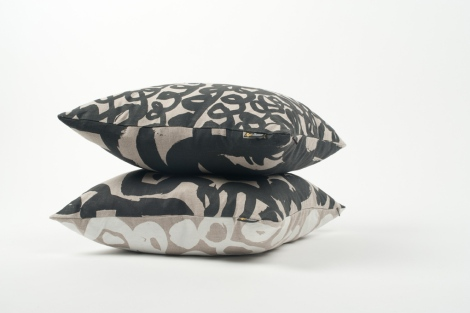 Lyn Snow 'Loop and Foliage' and 'Foliage on Naught' cushions