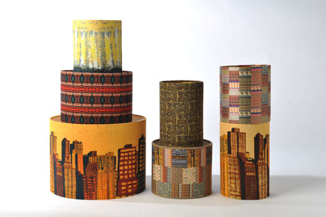 Penny Seume 'New York' linen and silk lampshades