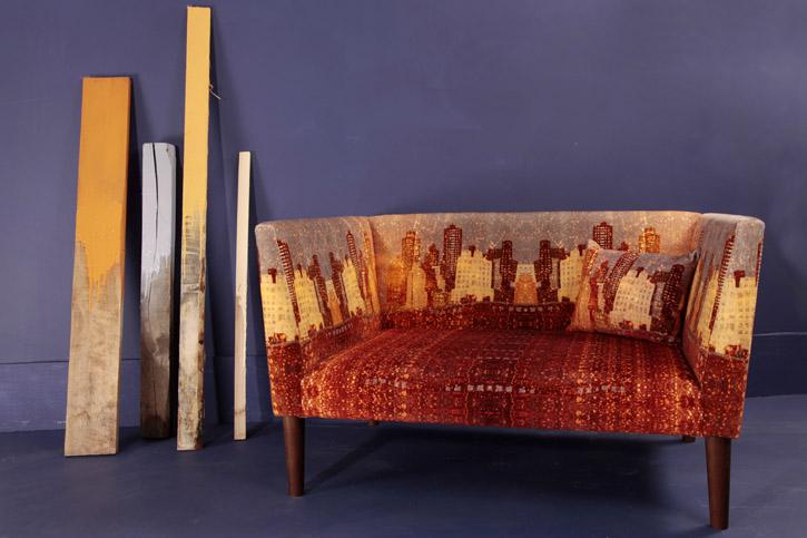 Penny Seume  'Vagabond Shoes' award-winning velvet sofa