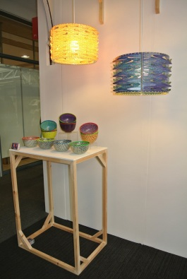 Sam Onyechi's plastic bowls and lampshades