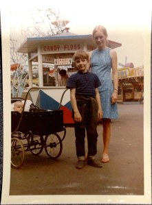 Anna Glasbrook, 1965, London - With Mum (me in pram) at Battersea Park fun fair in London.
