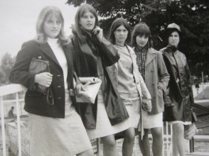 Helen Parker, Stratford-Upon-Avon, UK, 1965. School friends. 'We were in Stratford to watch Shakespeare. No idea what we saw, but a good opportunity for us to strut our stuff!'