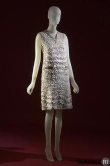 Submitted by The Museum at FIT, photo taken 2010, USA - A favourite from the collection as it's a luxury version of the shift, by Valentino - silver mesh, white lace, rhinestones, and wood - c.1965 - Italy - Gift of Harriet Weiner