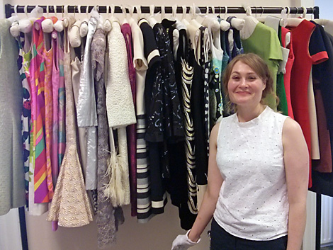 Elaine, our curator for the afternoon, in front of the fabulous rack of shift dresses we had to study.