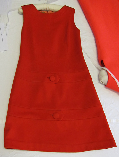 BATMC 2000.412, Mary Quant, 1965 - 1969, wool felt. Beautiful dress with elegant, vertical seam lines that probably make it more of a sheath dress than a shift dress because they are also acting as waist darts.