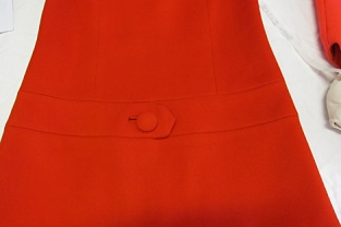 BATMC 2000.412, Mary Quant, 1965 - 1969, wool felt. Love the button and seam line detail giving a belt metaphor.