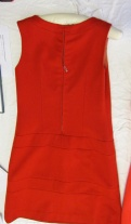 BATMC 2000.412, Mary Quant, 1965 - 1969, wool felt. Back - with hand-stitched zip and waist darts again. I think this would be quite a fitted dress.