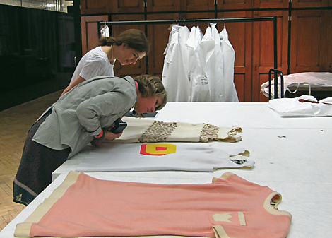 Anna and Julie examining 'Double D' by Foale & Tuffin - the D is a pocket! In the foreground is a Ginger Group mini dress and the Andre Courreges daisy mini-dress on the other side.