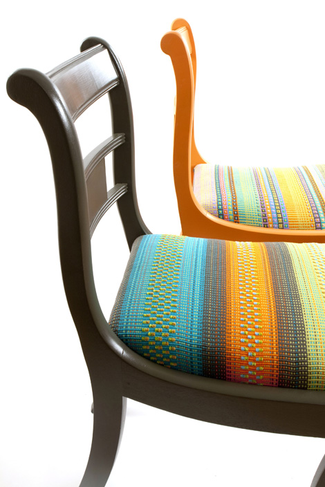 Angie Parker olive and orange ornamental chairs