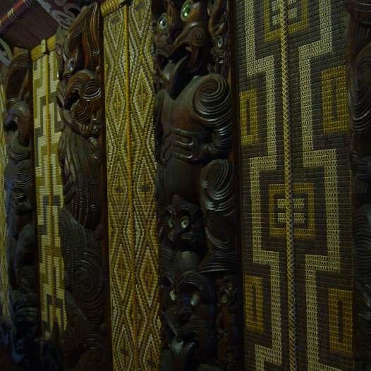 Tuku tuku panels and carvings, Waitangi Treaty House, New Zealand