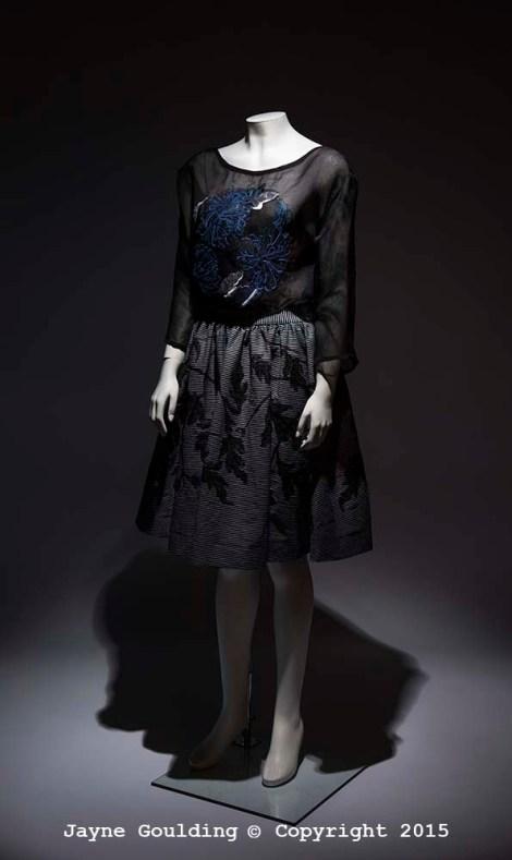 Chrysanthemum silk embroidery on silk organza, foliage skirt on Japanese denim 2015