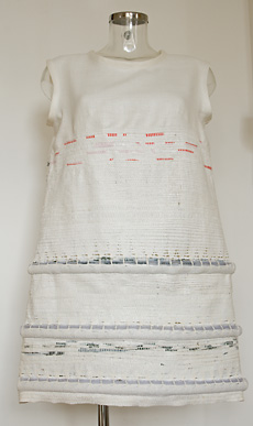Living shift dress front, predominantly white to provide a blank canvas for the micro-greens