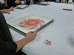 Students being inspired by the 'Pleats' series