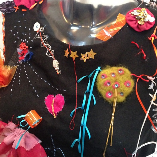 Graffiti shift dress detail with contributions from many different visitors