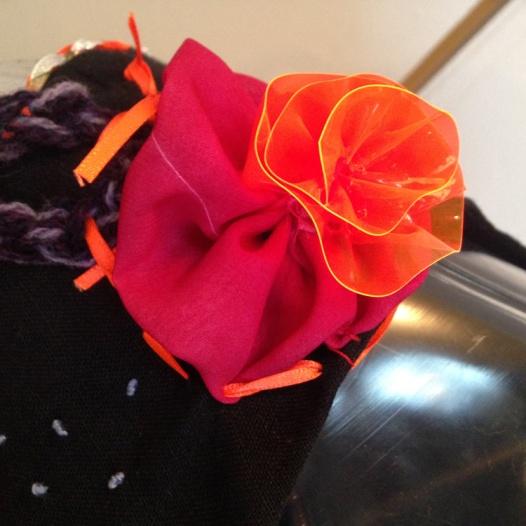 Shoulder detail graffiti dress - flower made from scrap from Anna Glasbrook's dress