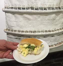 The harvested microgreens now in an egg and cress sandwich! 'Living Shift Dress' sown with new seeds. (Photo courtesy of Ian Wilson)