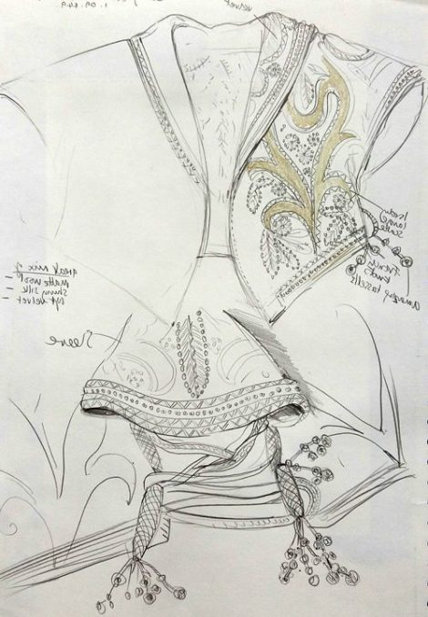 Sue Bradley, Costume drawing from The Fashion Museum. Seam