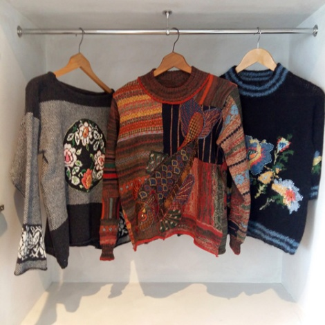 Sue Bradley, Machine knit sweaters using applique and embroidery techniques. Seam