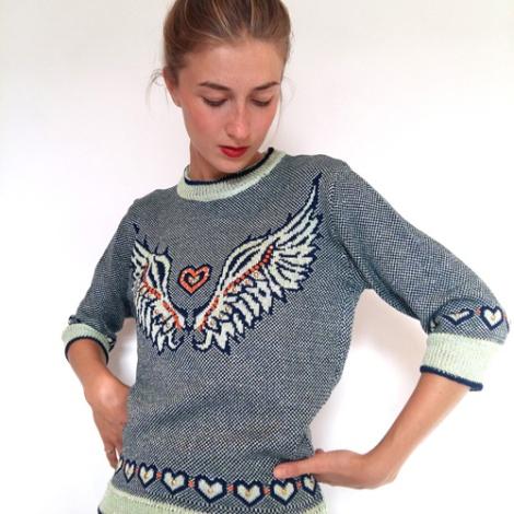 Sue Bradley, Machine knit tattoo sweater. Seam