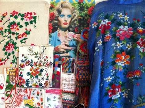 Sue Bradley, Moodboard featuring antique kimono, knit and hand stencilled samples. Seam