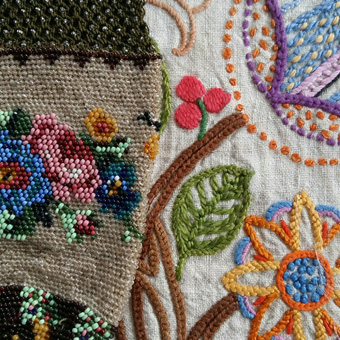 Sue Bradley, Vintage embroidery and beaded victorian bag. Seam