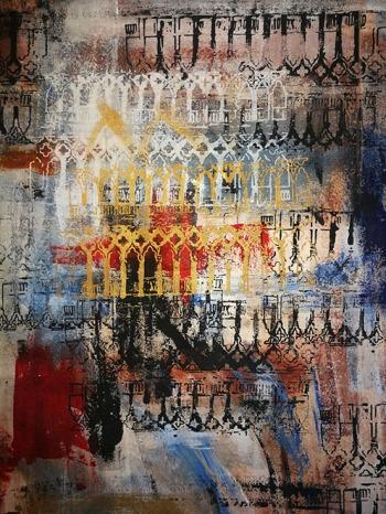 'Venice' painted canvas bag