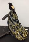 'Industrial Revolution 3', Afke Golsteijn 2009, taxidermy bird, iron, textile, embroidery, silk, beads 250 x 200 x 200 mm