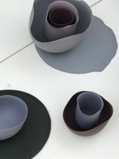 5. Seon-Yeon Park slip cast porcelian tableware based on colours and forms seen in abstract paintings by American artist Georgia O'Keeffe