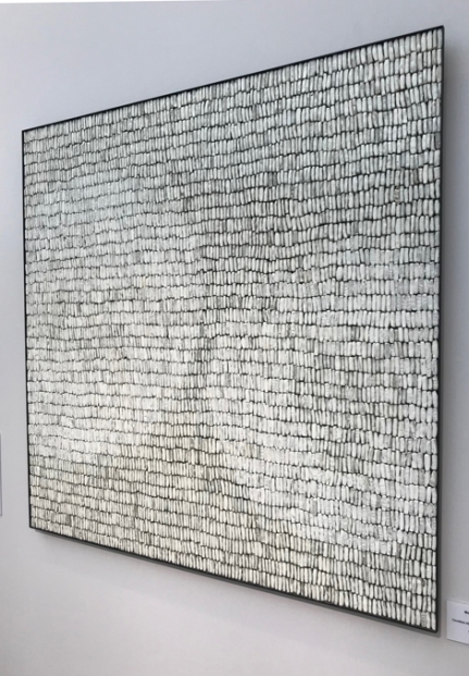 2. 'Moon (wall piece)', Park Sung Wook 2015, countless slip coated stoneware pieces in iron frame, 90 x 90 x 3 cm