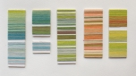 Penny Wheeler, card windings in hand-dyed paper yarn