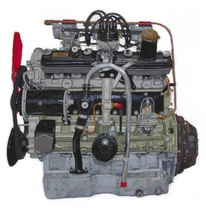 The Bristol 2 Litre Engine - machine embroidery by Julie Heaton