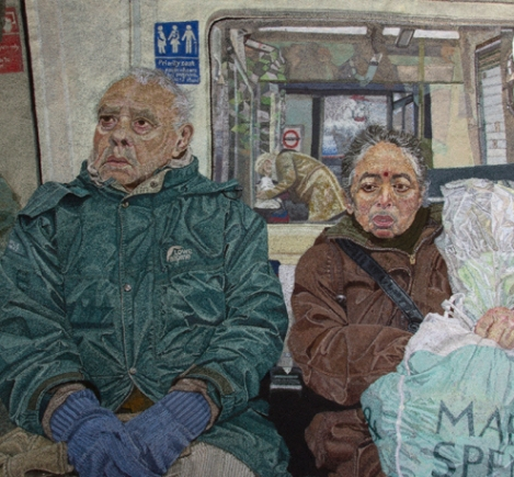 'A Couple on the Tube', 2014, free machine embroidery