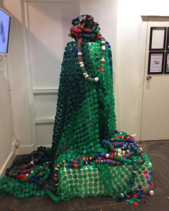 Joy Merron 'This Mortal Coil' made from bottle top flotsam and jetsam