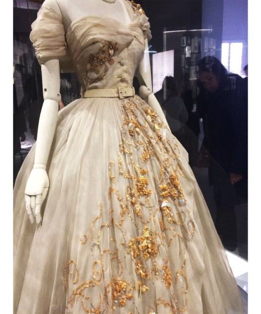 Dior dress with tambour embroidery, at the V&A Dior exhibition.